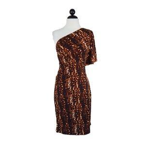 Calvin Klein Leopard Print Jersey One Sleeve Dress